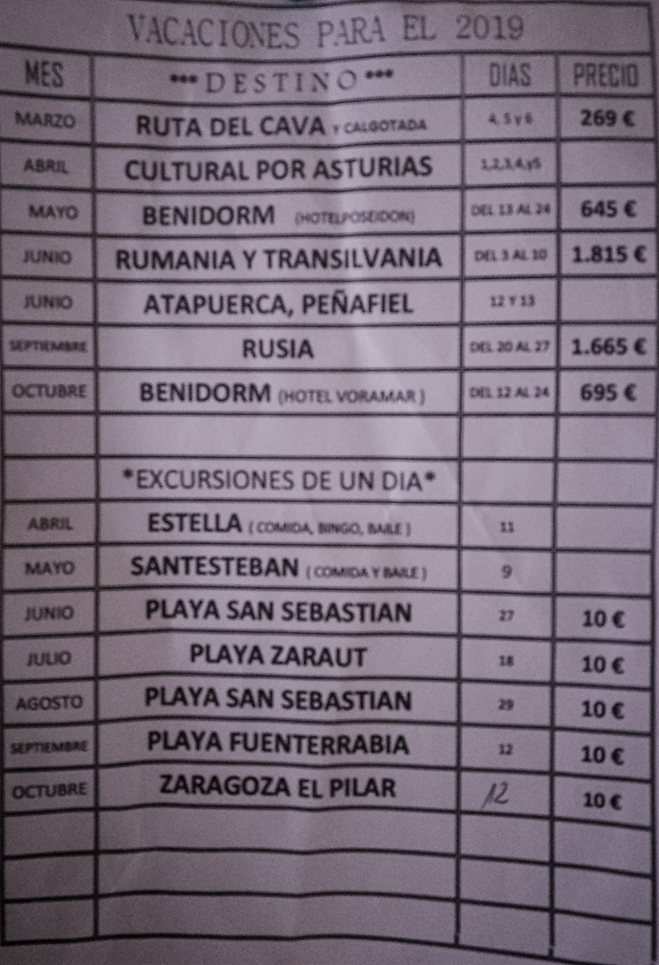 EXcursiones 2019
